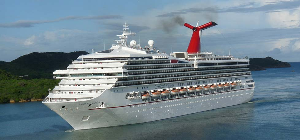 Carnival Victory sailing into Antigua