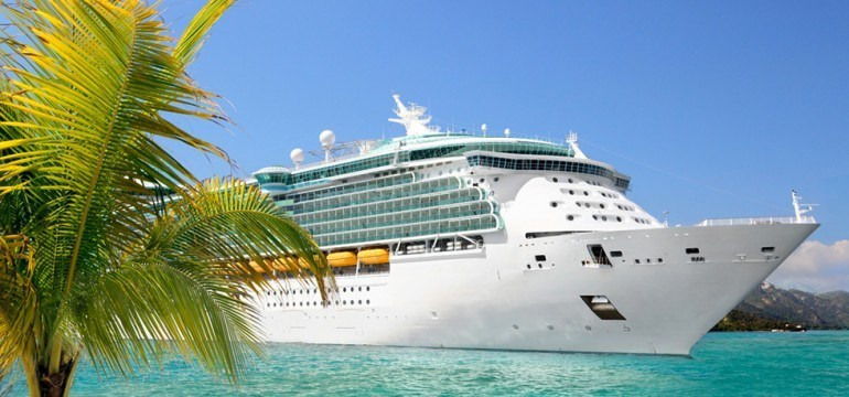 cruise ship at small island