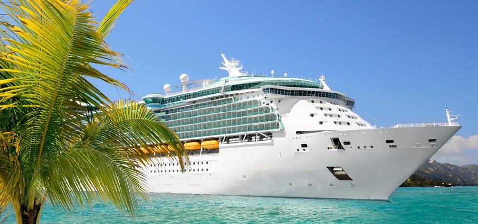 cruise ship at small island