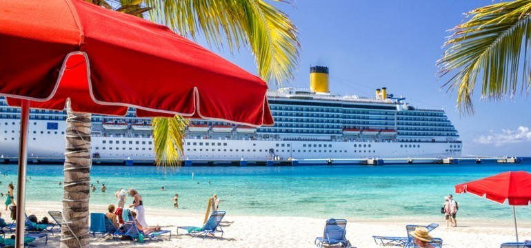 tropical beach with cruise ship