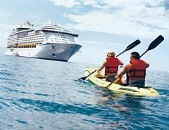 Voyager of the Seas and Kayaking Couple