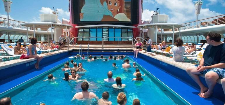 cruise ship pool and cinema