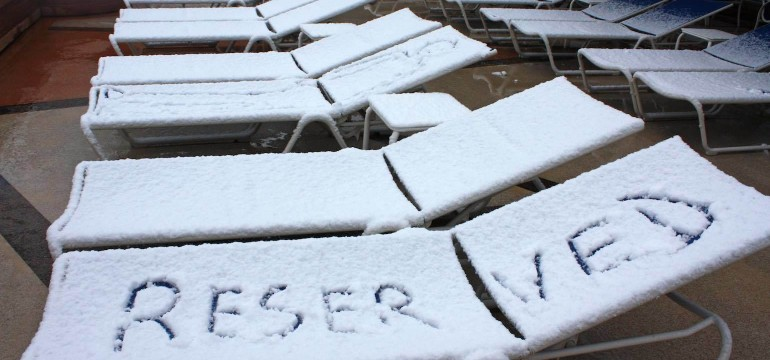 snowy sundeck of the Queen Victoria
