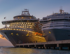 Sunset with Crown Princess and Carnival Liberty
