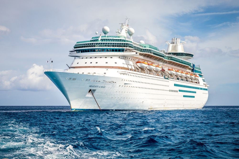 Royal Caribbean Majesty of the Seas sails in the Port of the Bahamas