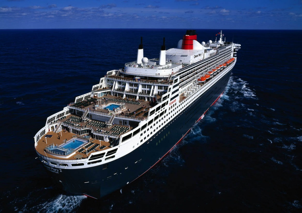 Queen Mary 2 aerial Aft view