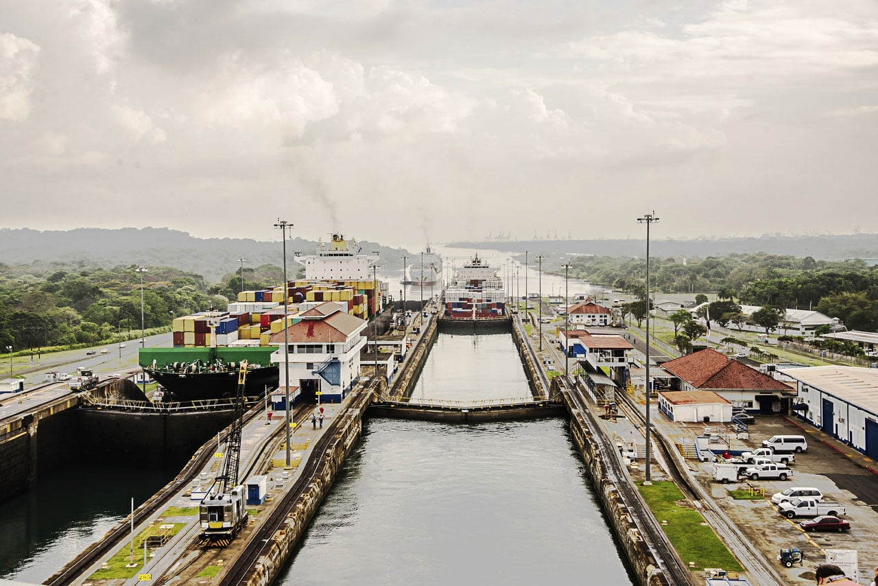 Panama Canal and large ship