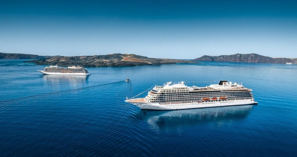 Viking Sea and Viking Star Meet in Santorini