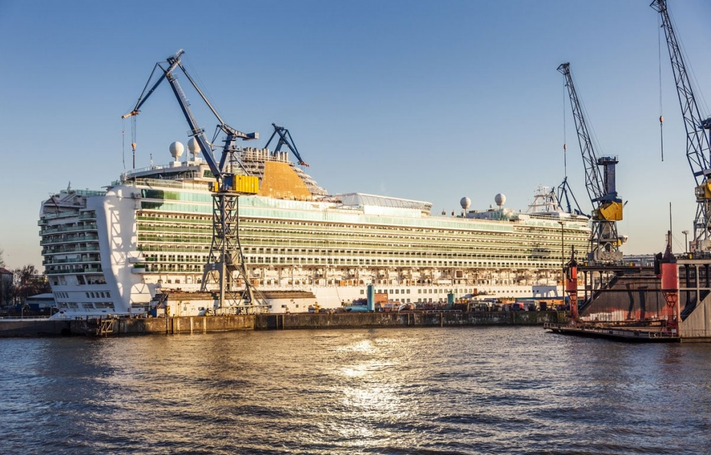 Cruise Ship in the Dry Dock at Sunset
