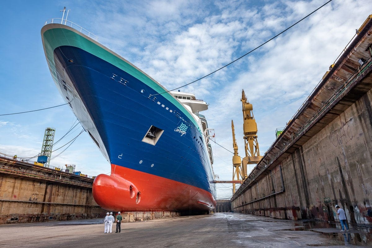 Cruise ship repairing in dry dock